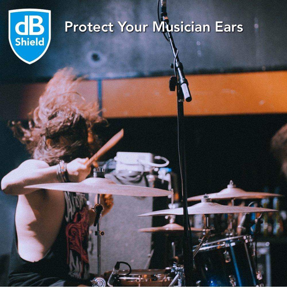 concerti chitarristi ideali per batteristi 9-27dB Tappi per orecchie antirumore dB Shield festival Tappi orecchie per musicisti Riduzione professionale del rumore senza perdita di qualit/à