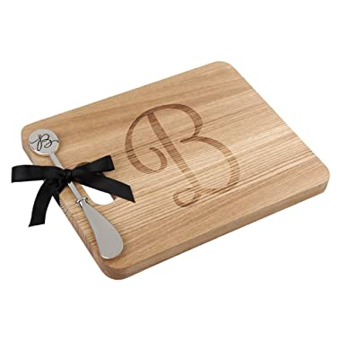 ANDREW FAMILY Monogram Fraxinus Mandshurica Solid Wood Cheese Board With Spreader-B