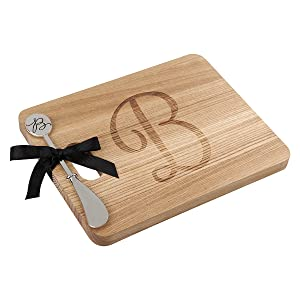 Monogram Acacia Wood Cheese Board With Spreader-B