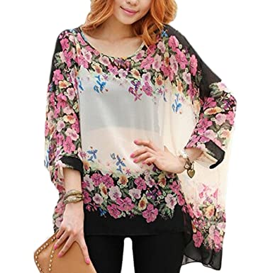 4388f6f6161d3 DJT Bohemian Hippie Big Size Batwing Sleeve Chiffon Blouse Loose Off  Shoulder Shirt White Beige Black