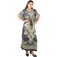Floral Print Long Caftan Tunic Dress Maxi Kaftan Plus Size Cover up Dresses for Women