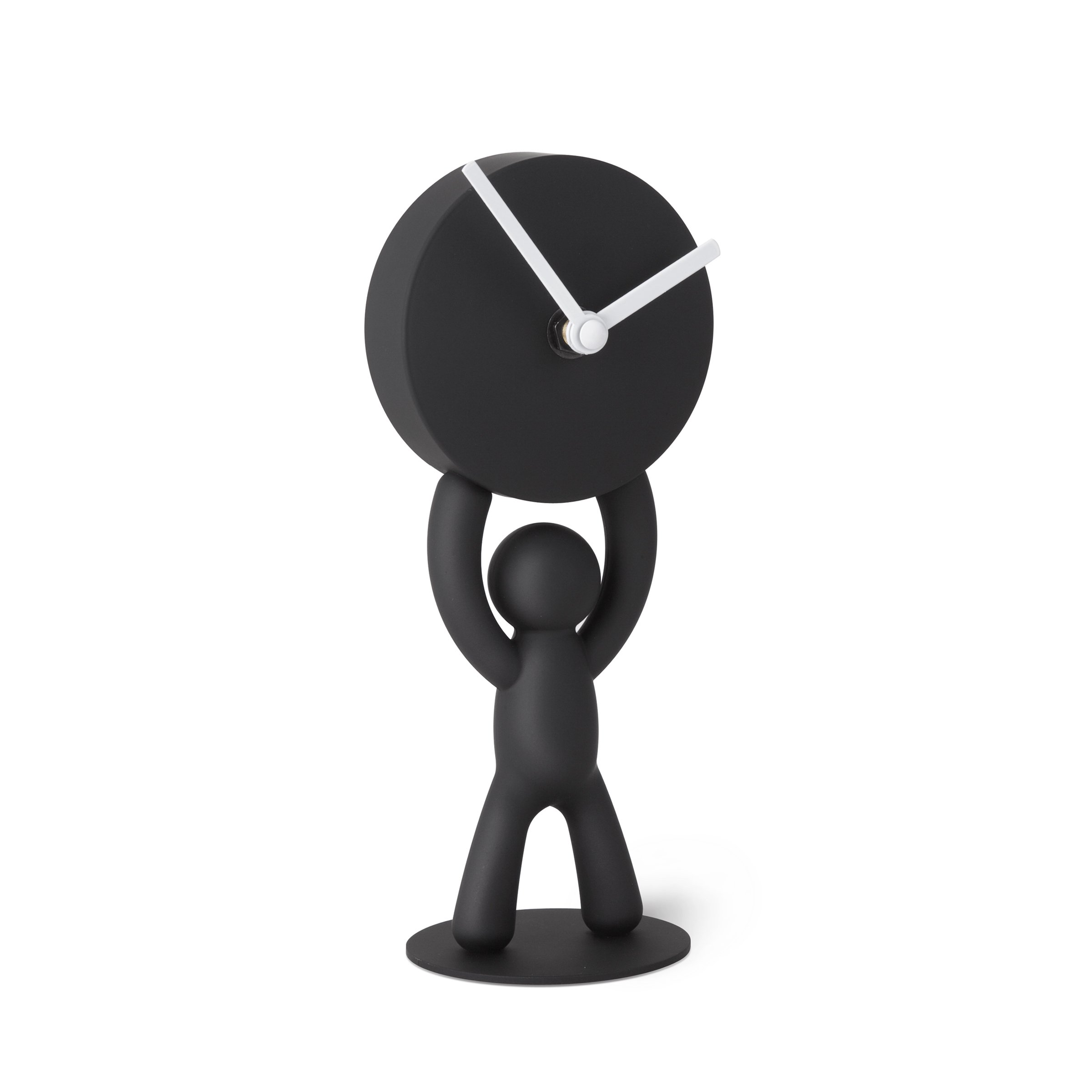 Umbra Buddy Desk Clock, Playful Clock for the Desktop, Soft Touch Finish, Black