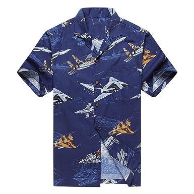 a3853a101 Made in Hawaii Men's Hawaiian Shirt Aloha Shirt S Jet Planes Fighters Ships  Navy Blue