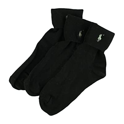 3-Pack Ralph Lauren Turncuff with Polo Embroidery (9-11, Black): Clothing