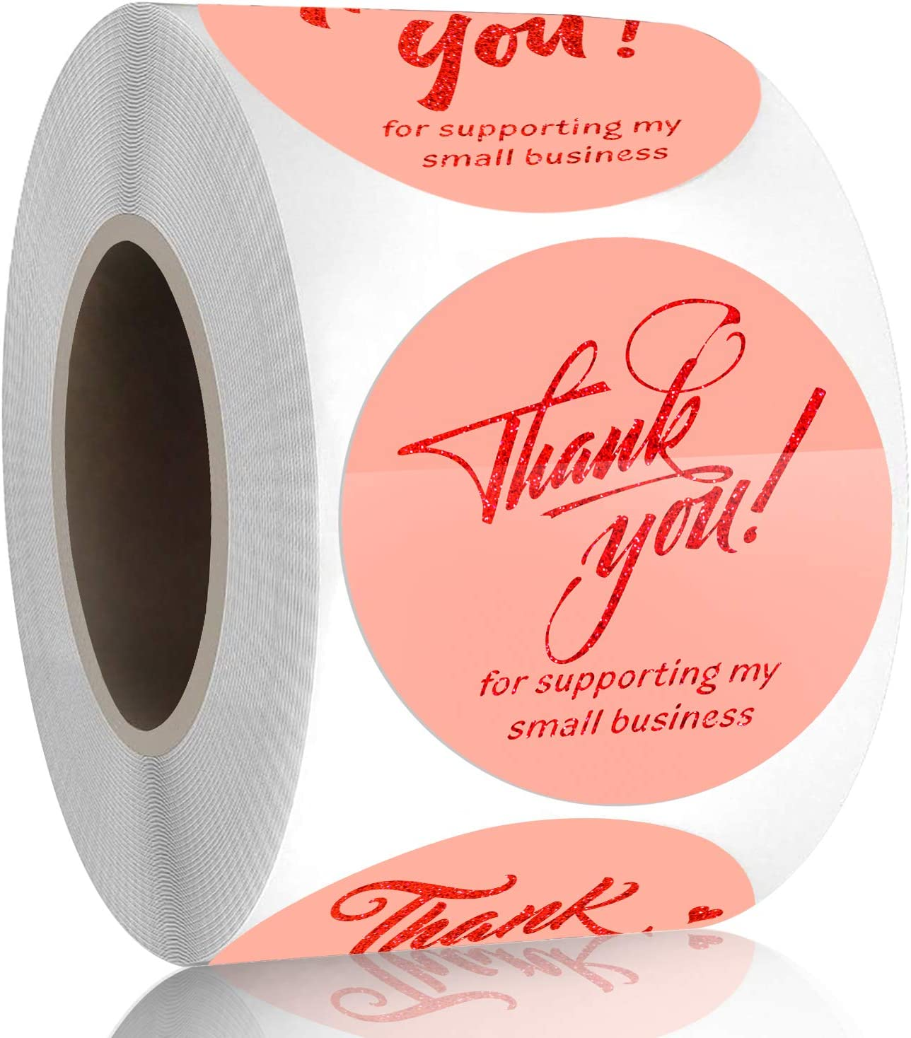 """Padike 1.5"""" Thank You for Supporting My Small Business Stickers, 4 Designs, Highly Recommended for Small Business Owners and Online Sellers, 500 Labels Per Roll (Pink & Glitter red Gold, 1.5inch)"""