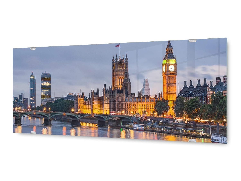 KD KD KD Dsign+ Glasbild Wandbild GLX12575987577 London Themse 125 x 50cm / inkl Aufhängesystem ac4ade