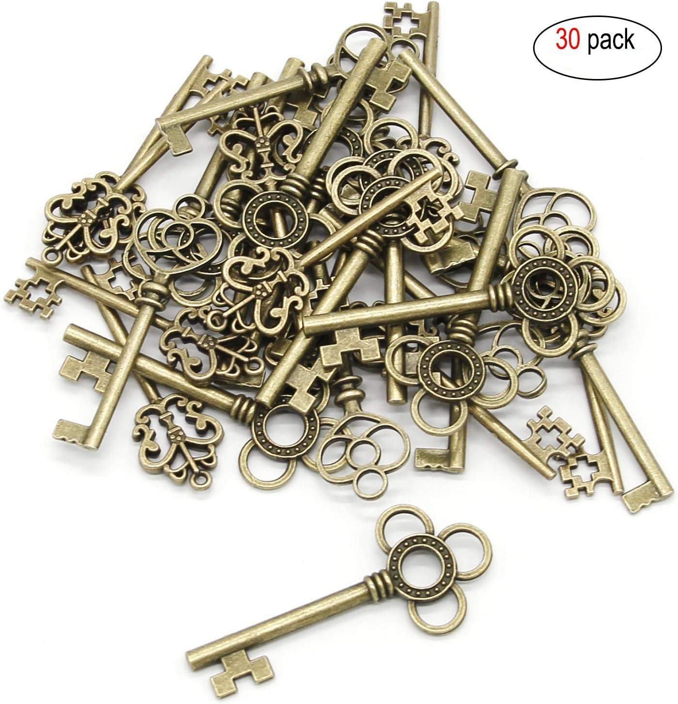 Llaves grandes de bronce con esqueleto, juego de 30 llaves de bronce envejecido, llavero mezclado, colgante vintage para bisutería