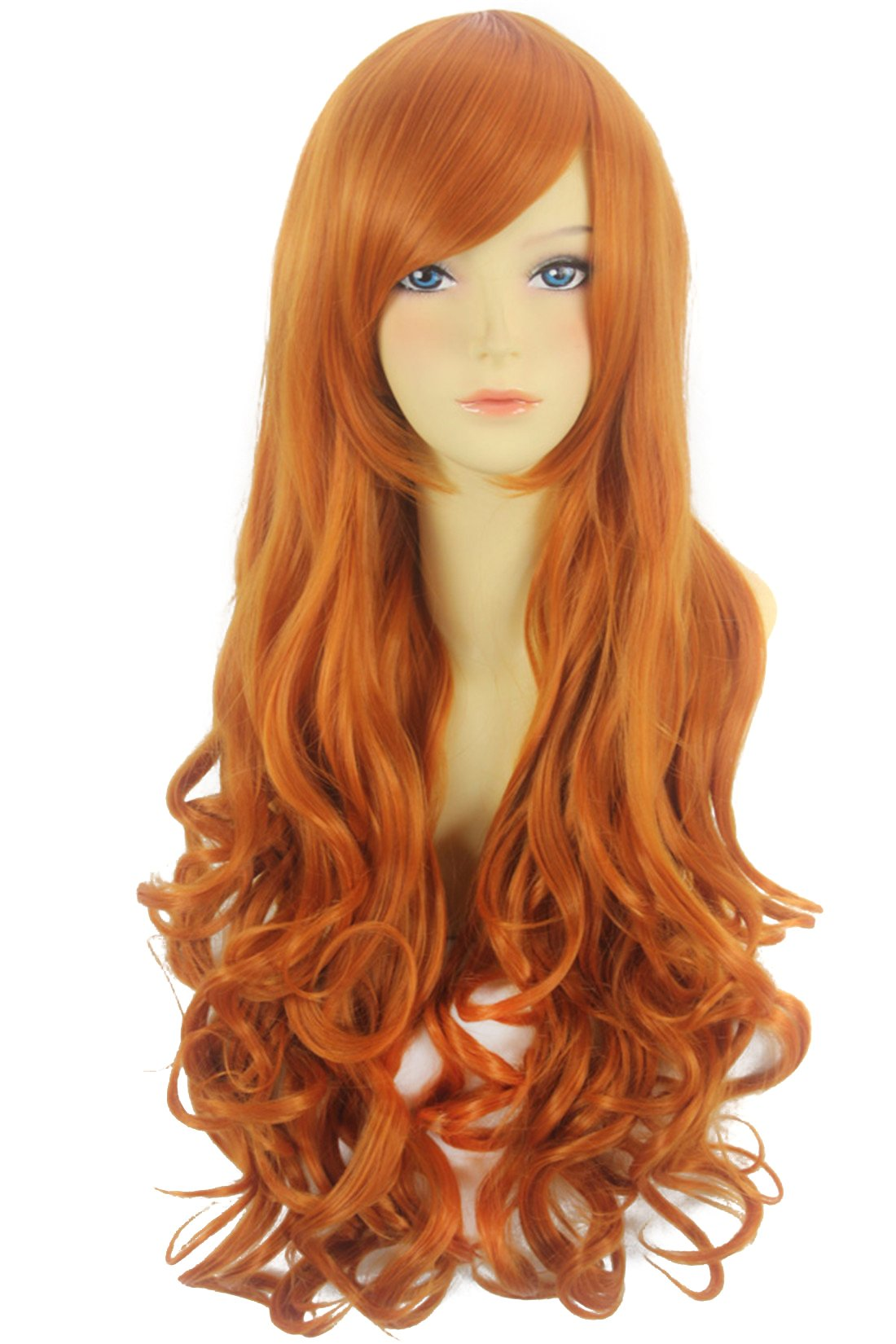 Icoser 80cm Long Curly Synthetic Hair Anime Cosplay Party Wigs for Women (Orange) by i-coser (Image #1)