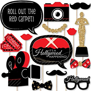product image for Big Dot of Happiness Red Carpet Hollywood - Movie Night Party Photo Booth Props Kit - 20 Count
