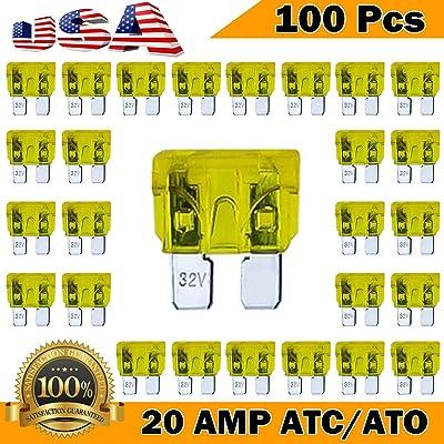 Kodobo 100 Pack Auto Fuses 20 AMP ATC/ATO Standard Regular Fuse Blade 20A Car Truck Boat Marine RV - 100Pack: Automotive