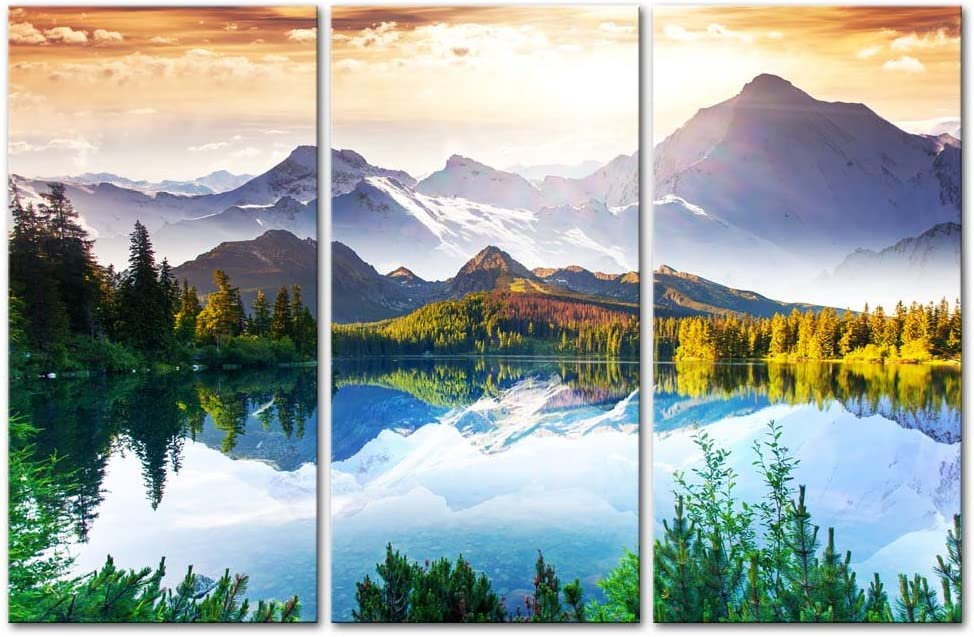 My Easy Art- Mountain Wall Art Decor Lake and Trees Forest in National Park Canvas Pictures Artwork 3 Panel Nature Landscape Painting Prints for Home Living Dining Room Kitchen