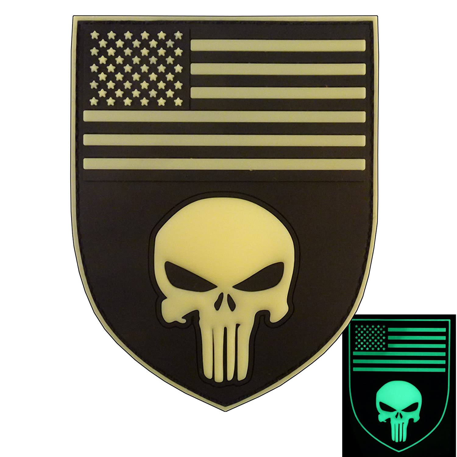 3D Glow Dark Punitore Punisher Shield USA American Bandiera PVC Gomma Hook& Loop Toppa Patch 2AFTER1 P.1717.2.V.F