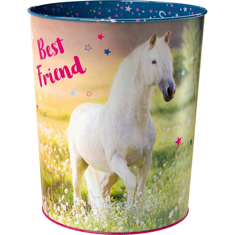 Die Spiegelburg 14520, decorazione camera bambini - cestino per la carta - motivo: Cavallo bianco Best Friend - serie: Amici dei cavalli - materiale: metallo stampato multicolore - ca 23 cm, Ø 20 cm