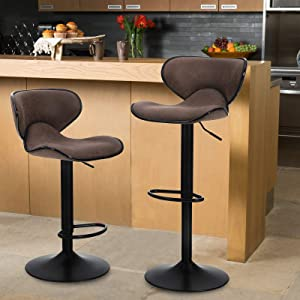 MAISON ARTS Counter Height Swivel Bar Stools Set of 2 Adjustable Barstools with Back for Kitchen Counter Tall Bar Height Chairs Faux Leather High Stools for Kitchen Island,300 LBS Bear Capacity,Brown