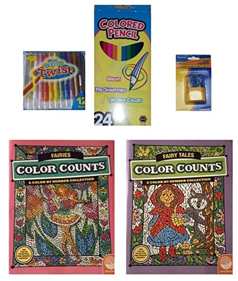 Amazon.com: MindWare Color Counts Fairies/Fairy Tales Books/Crayons ...