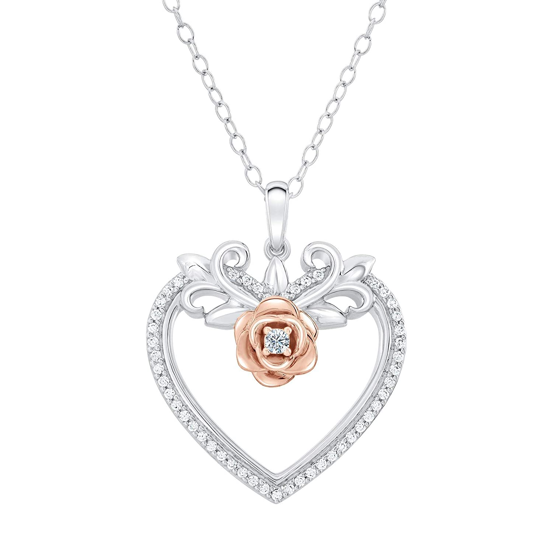 39daff1894e44 Amazon.com: Enchanted Disney Belle Diamond Heart and Rose Pendant 1 ...