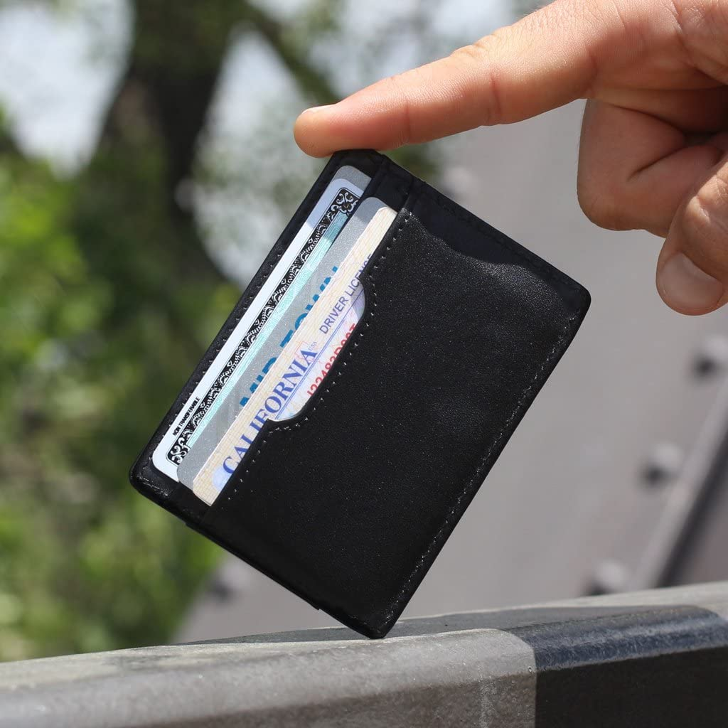 F/&H Signature Slim RFID Card Holder Wallet in Top Grain Leather