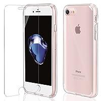 Funda iPhone 7 / 8 + Cristal Protector de pantalla ,ivencase Transparente PC Silicona [Funda + Vidrio Templado] Ultra Fino Protector de Pantalla 9H Dureza HD y Flexible Back Case Cover para iPhone 8/7