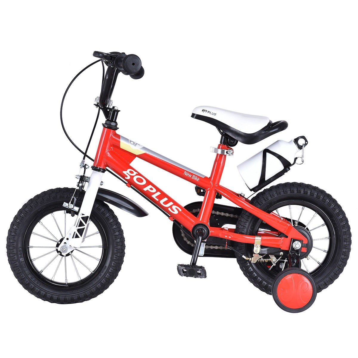 MD Group Kids Bicycle 12'' Freestyle Red Metal Frame Adjustable with Training Wheels