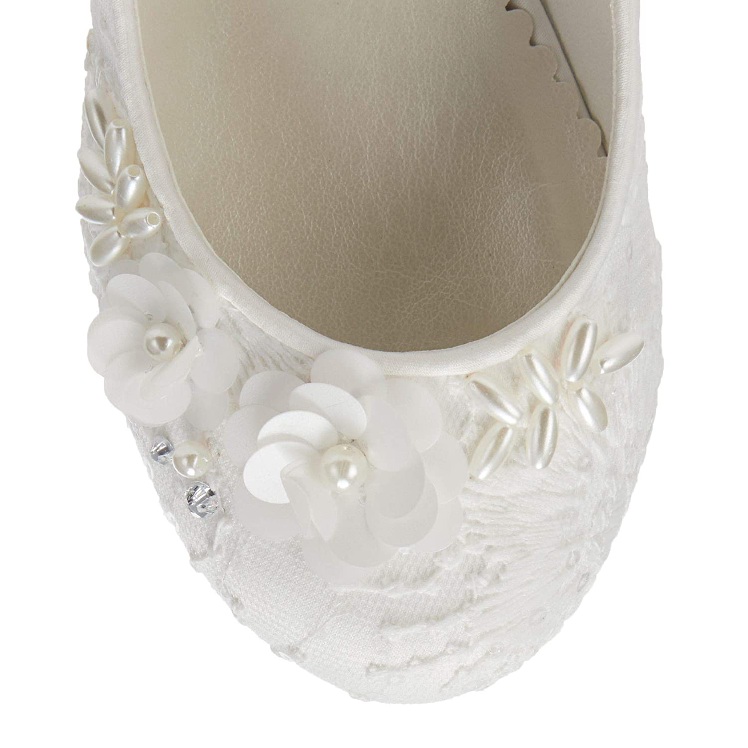Occasions Kids Girls Ivory Lace Shoes