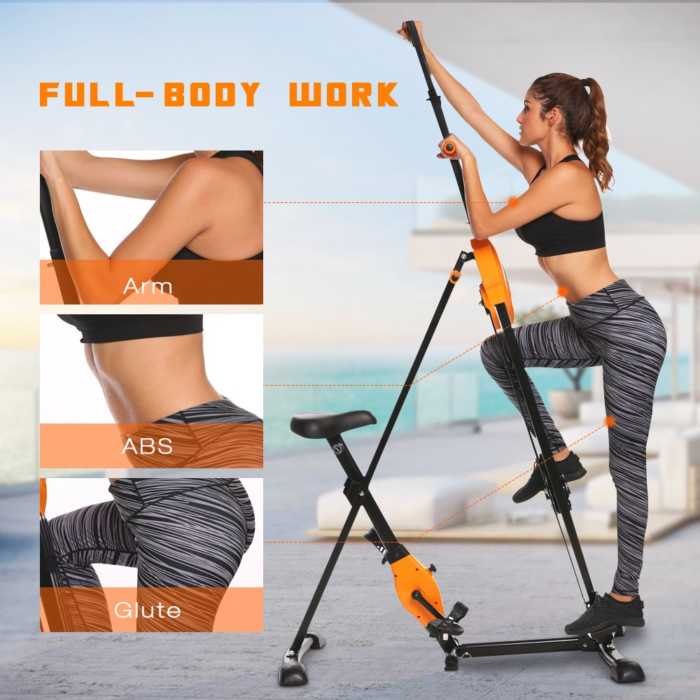 ANCHEER Vertical Climber Folding Exercise Climbing Machine, Exercise Equipment Climber for Home Gym, Exercise Bike for Home Body Trainer (Orange) by ANCHEER (Image #3)