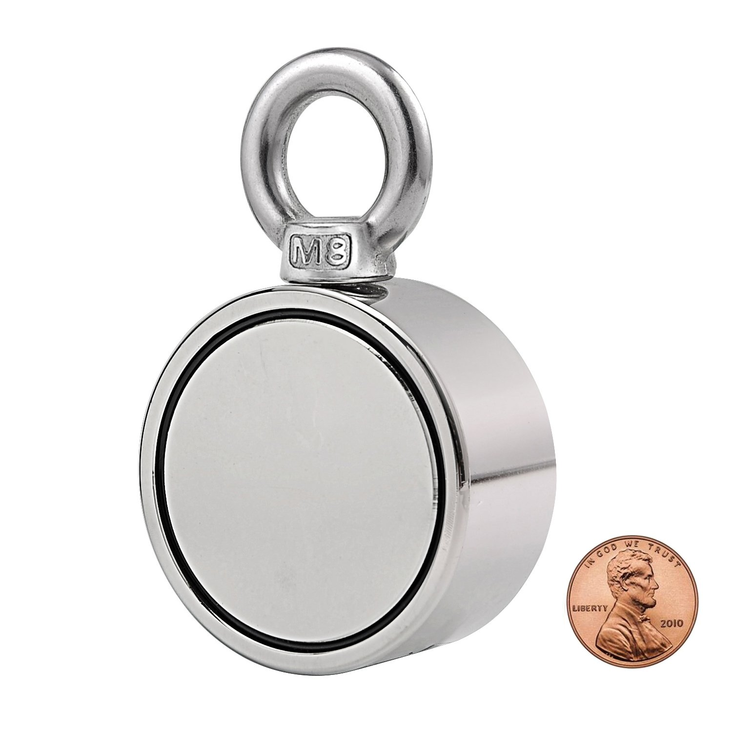 Double Side Round Neodymium Fishing Magnet, Combined 530LBS Pulling Force Super Strong Neodymium Magnet with Eyebolt for Magnet Fishing and Salvage in River - 2.36'' Diameter
