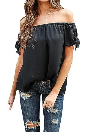 4f49592fb35 Relipop Summer Women's Short Sleeve Off Shoulder Tops Casual Shirt Blouses  (Small, Black)
