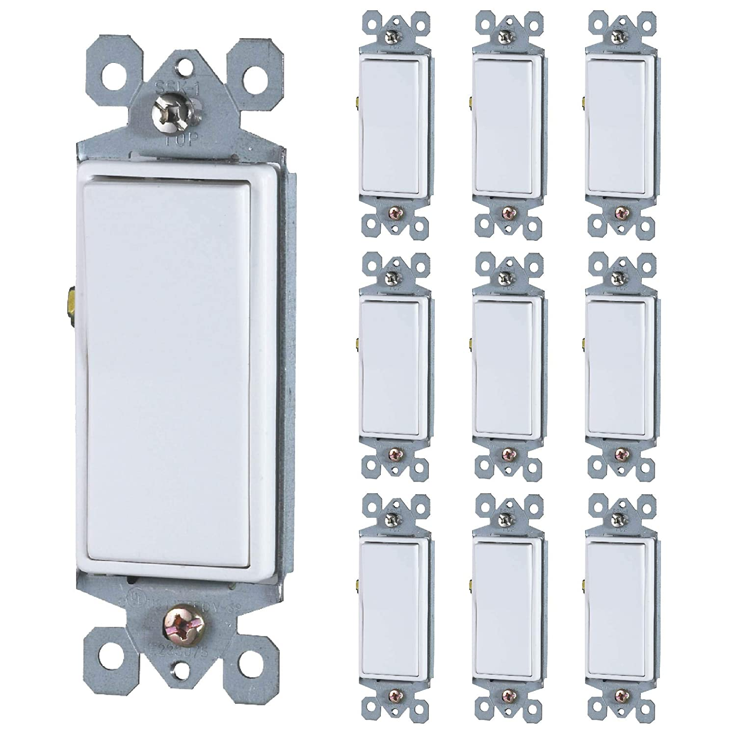 Faith [10-Pack] Single-Pole Decorator Paddle Wall Light Switch, 15A 120/277V, On/Off Rocker, White, 10-Piece