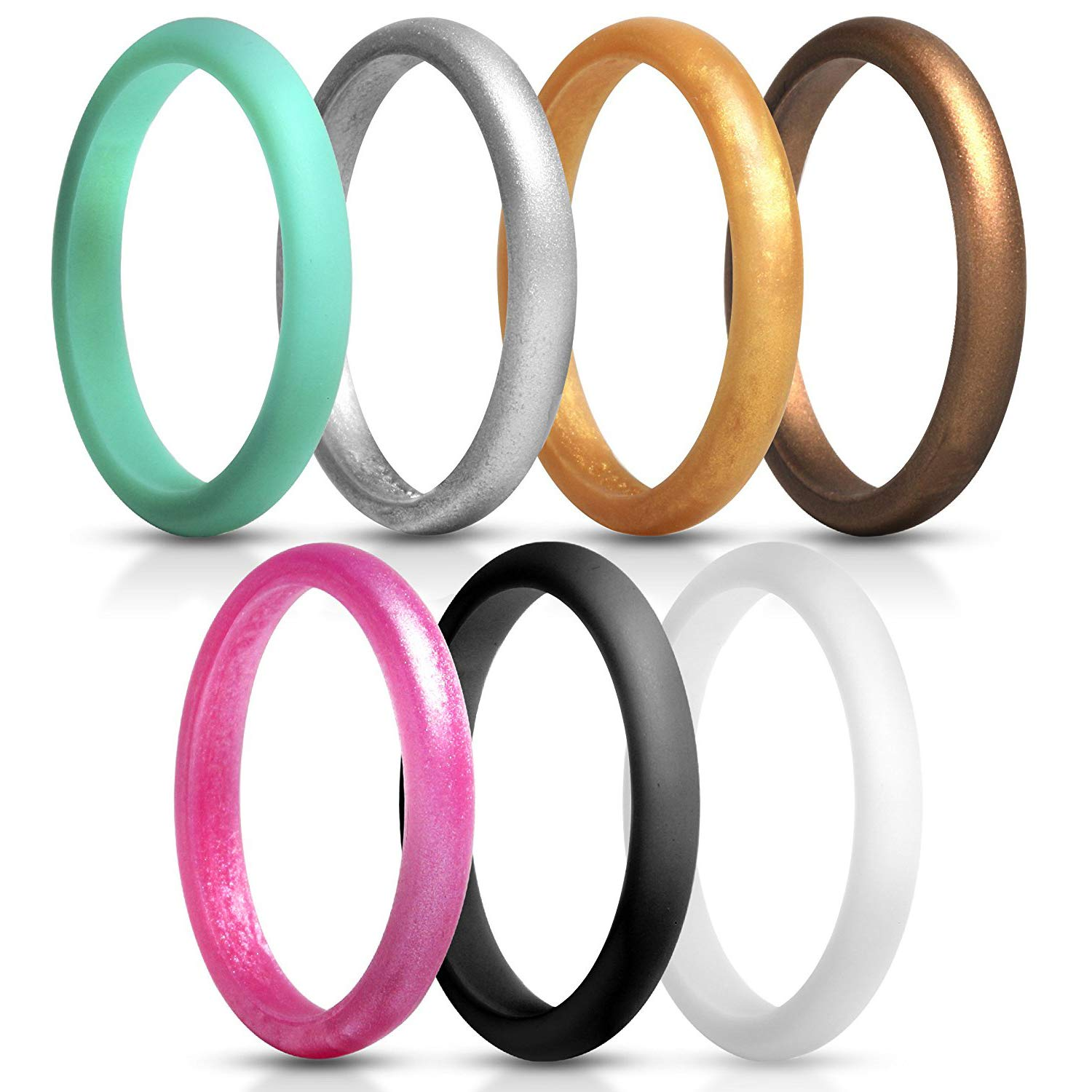 du fangbin Silicone Wedding Ring for Women, Thin Rubber Wedding Bands, Colorful, Skin Safe   7 Pack & Singles 2.7mm Width - 2mm Thick (6)