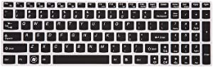 Leze - Ultra Thin Silicone Keyboard Cover Protector for Lenovo Ideapad Flex 3 15'', Ideapad Y700 15'' & 17'', 700 15'' & 17'', 500 15'', 500s 15'', 300 15'' & 17'', Y700S 15'' Laptop - Black