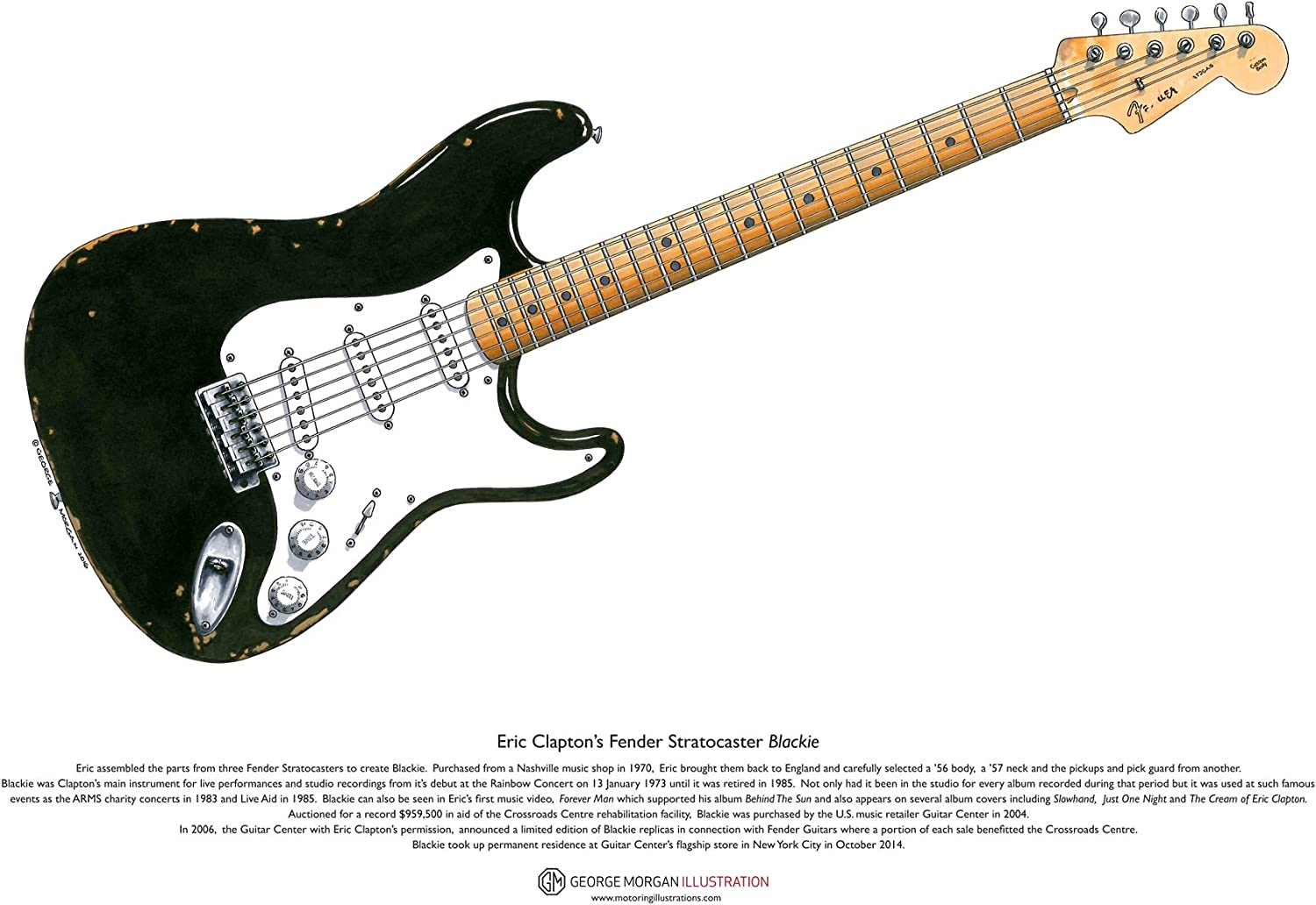 George Morgan Illustration Tamaño de Fender Stratocaster Blackie ...