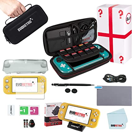 EVORETRO Protective Starter Kit for Nintendo Switch Lite with Tempered Glass Screen Protector, Travel Case, Foldable Stand, and More: Amazon.es: Electrónica