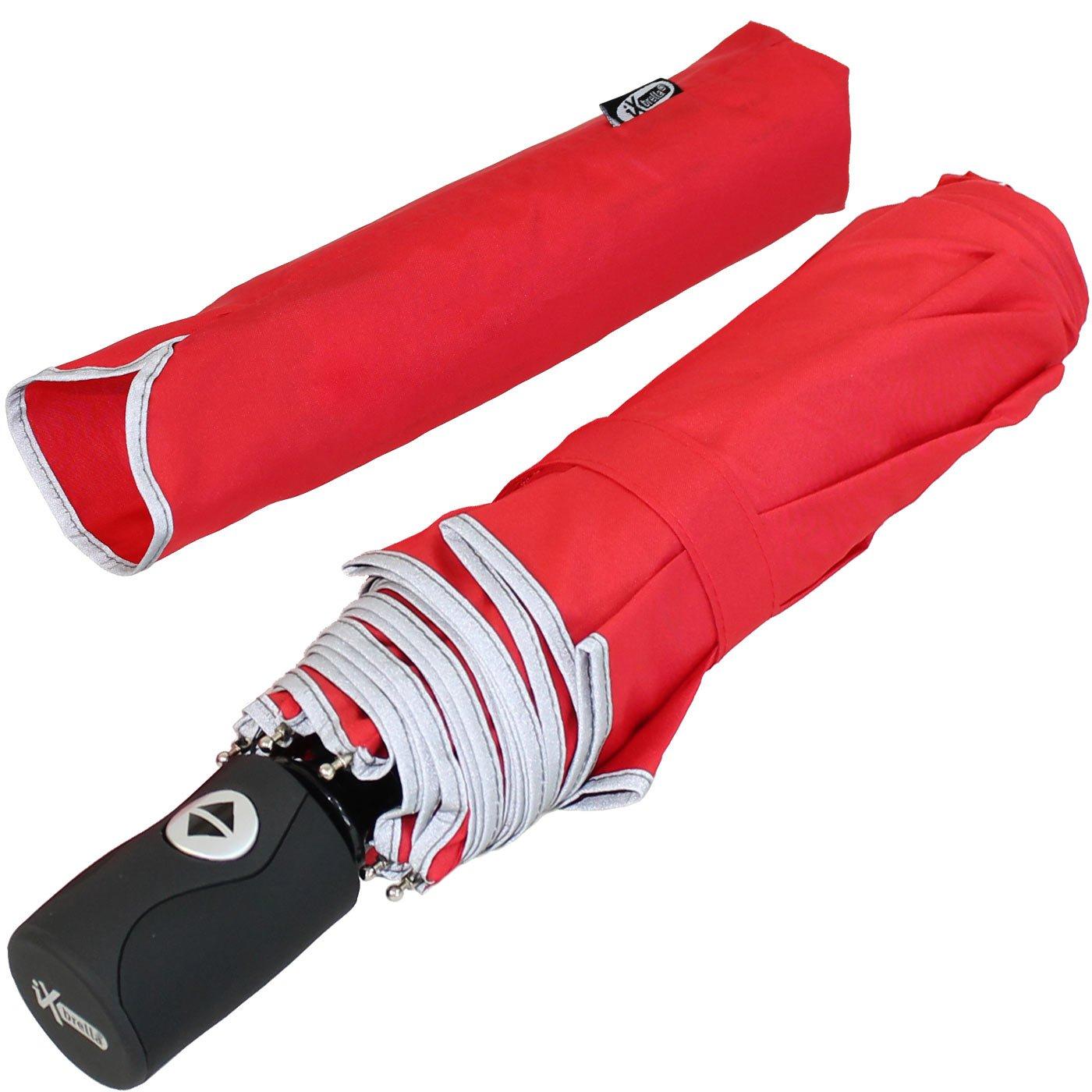 estable y grande rojo RED 104 tama/ño XL UE 104 cm de di/ámetro Paraguas iX Brella reflectante