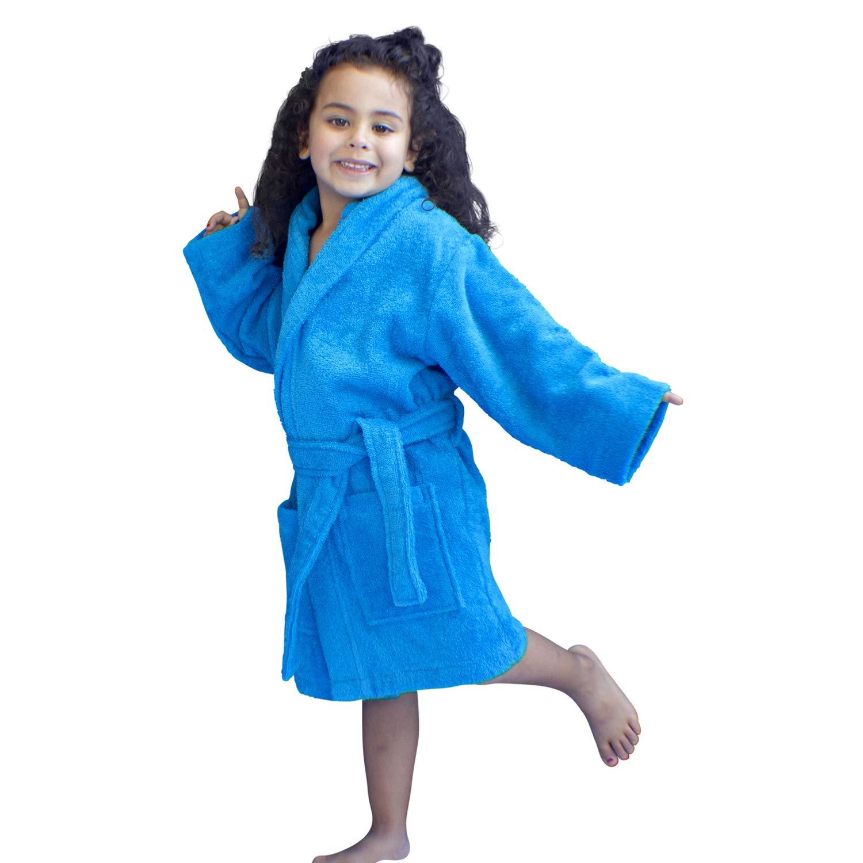 Bagno Milano Kids 100/% Organic Turkish Cotton Girls Robe Boys Unisex Hooded Bathrobe Made in Turkey