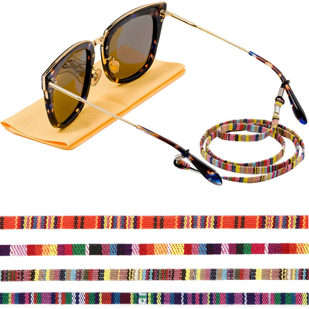 Eye Glasses String Chain, Glasses Holders Necklace, Eyewear Lanyard Retainer Cord, Multicolored Sunglasses Strap for Women (4 pack) by Vria
