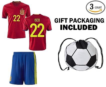 Fan Kitbag Spain Isco  22 Youth Home Away Soccer Jersey   Shorts Kids  Premium 8e3f789f7