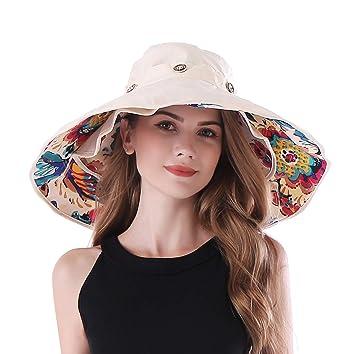 9e072a84 iHomey Packable Shapeable Extra Large Brim Floppy Sun Hat Reversible UPF  50+ Beach Sun Bucket