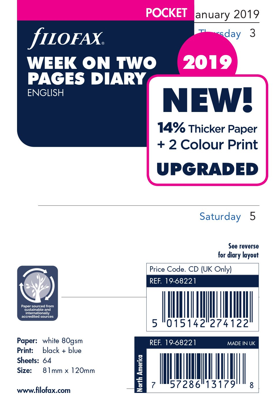 Filofax 19–68221Pocket Woche auf zwei Seiten Englisch 2019Diary 19-68221