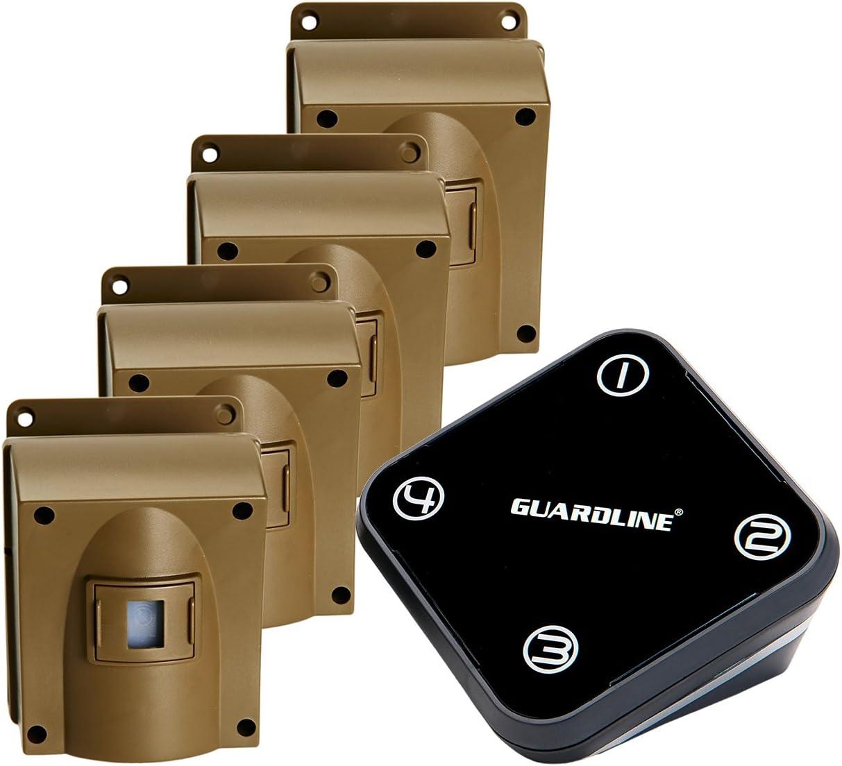 Guardline Wireless Driveway Alarm w Four Sensors Kit Outdoor Weather Resistant Motion Sensor Detector- Best DIY Security Alert System- Protect Home, Perimeter, Yard, Garage, Gate, Pool