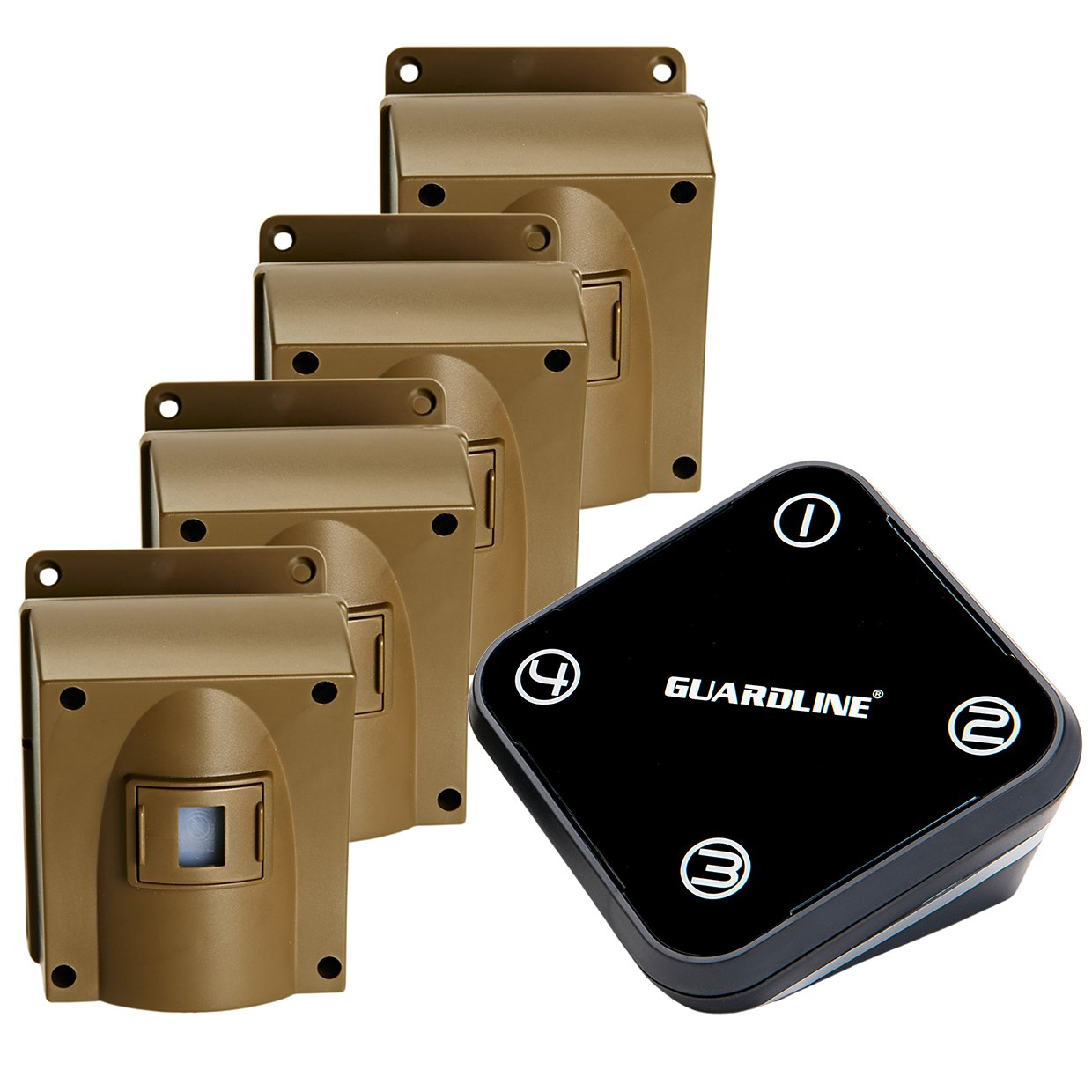 Guardline Wireless Driveway Alarm w Four Sensors Kit Outdoor Weather Resistant Motion Sensor Detector- Best DIY Security Alert System- Protect Home, Perimeter, Yard, Garage, Gate, Pool