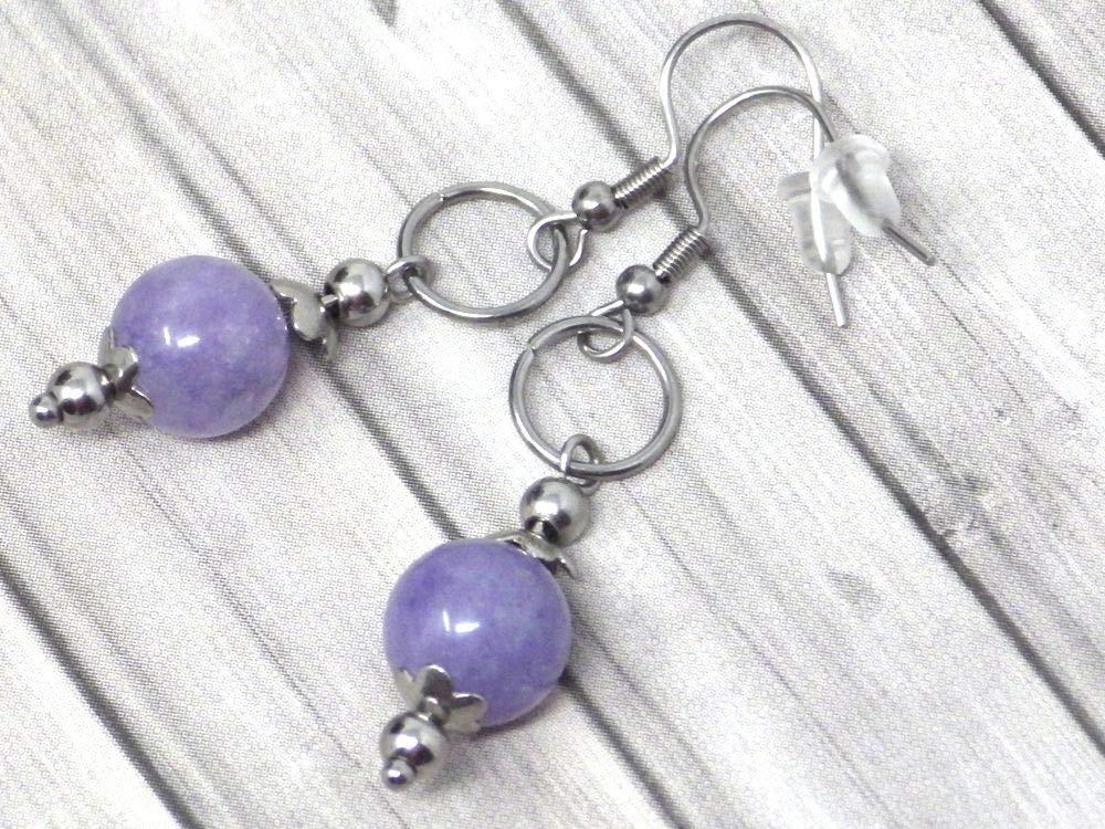 Pendientes de acero inoxidable para mujer con anillos y cuentas de cuarzo azul.