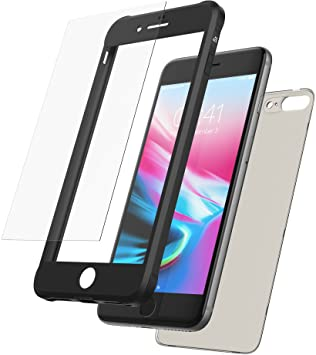 Mobilyos Funda iPhone 8 Plus 360 Grados + Vidrio Templado, [Bumper Flexible Antigolpes ] [ Negro ] Funda iPhone 7 Plus Integral con Trasera ...