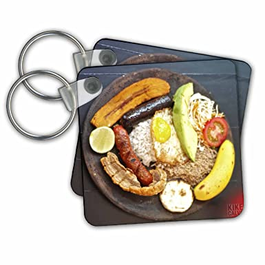 3dRose A Bandeja Paisa - Key Chains, 2.25 x 2.25 inches, set of 2