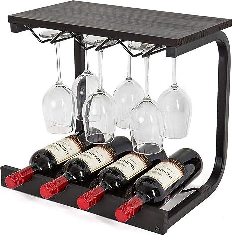 Soduku Wine Rack Wall Mounted Handmade Metal Wood Wine Countertop Rack Wine Storage Shelf With 4 Bottle Cages 6 Long Stem Glass Holder Espresso Kitchen Dining