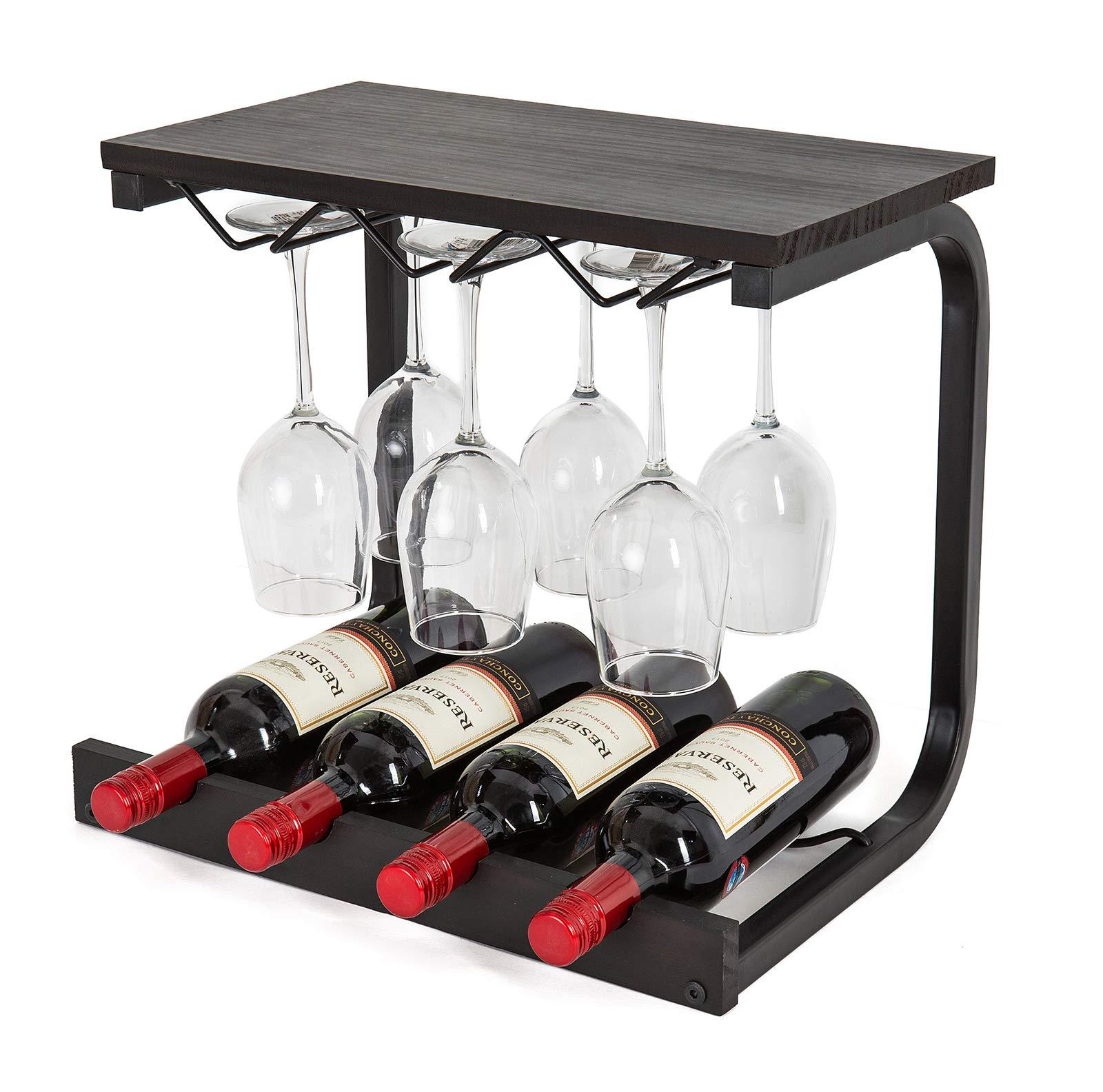 SODUKU Wine Rack Wall Mounted Handmade Metal & Wood Wine Countertop Rack Wine Storage Shelf with 4 Bottle Cages & 6 Long Stem Glass Espresso by SODUKU