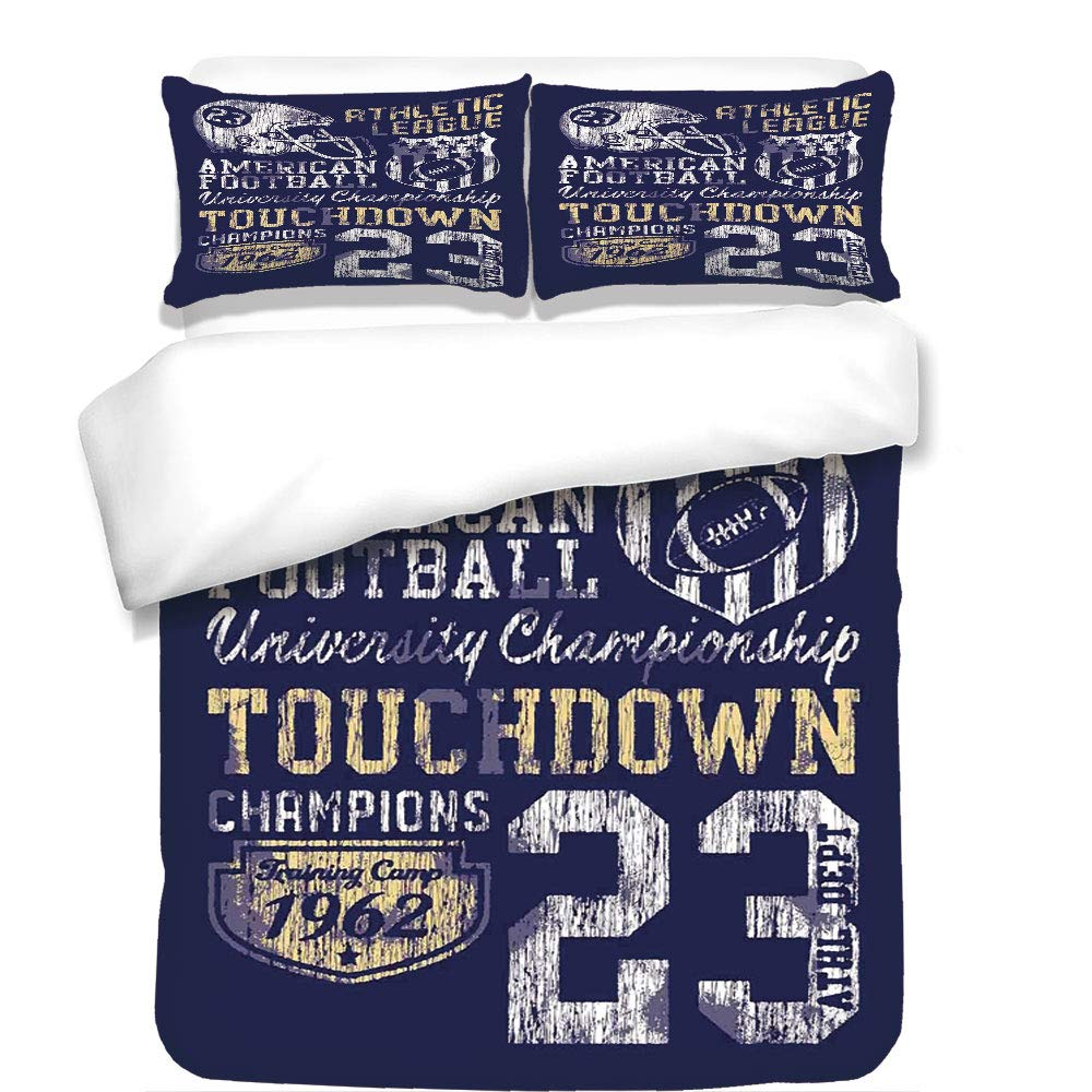 iPrint 3Pcs Duvet Cover Set,Sports,Retro American Football College Illustration Athletic Championship Apparel Decorative,Purple White Yellow,Best Bedding Gifts for Family/Friends