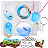 Large Cabochon Gemstone Resin Casting Silicone Mold with Hole 6-Cavity with Jewelry Making Supplies Set for Polymer Clay Craf