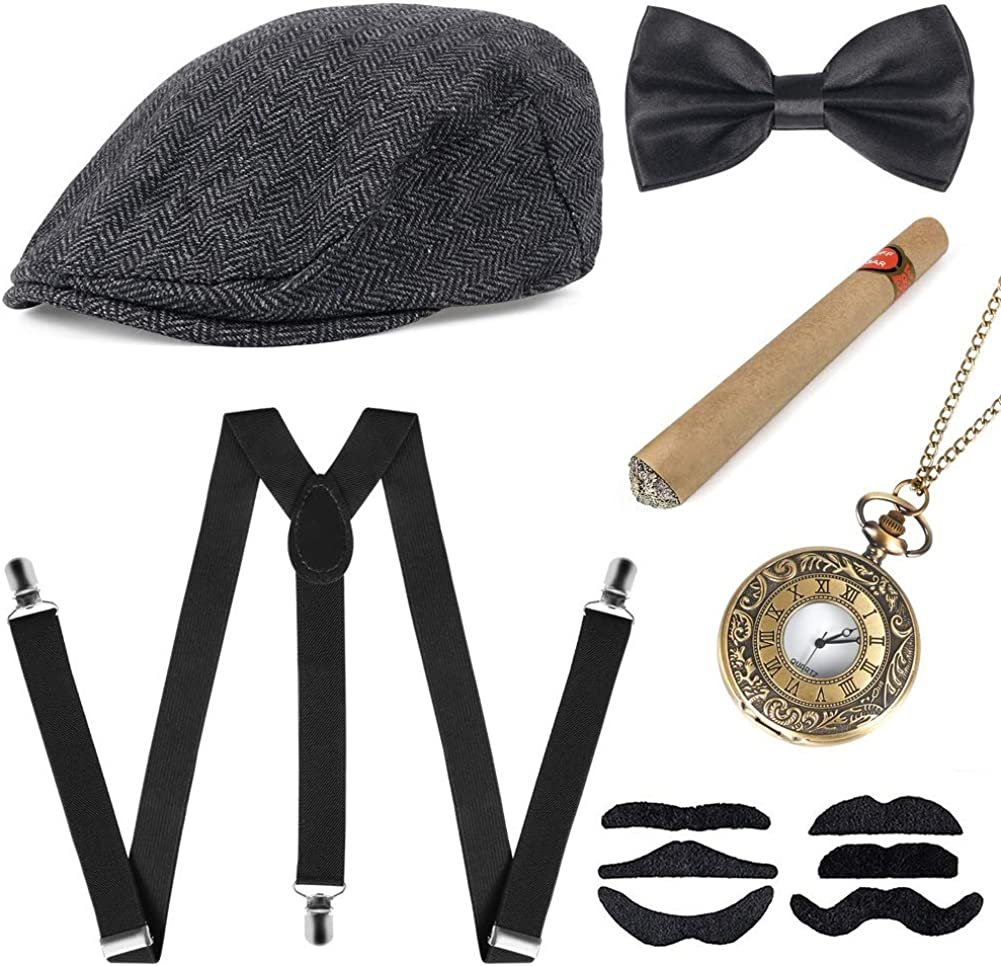 1920s Mens Gatsby Costume Accessories Roaring Panama Newsboy Gangster Retro Set