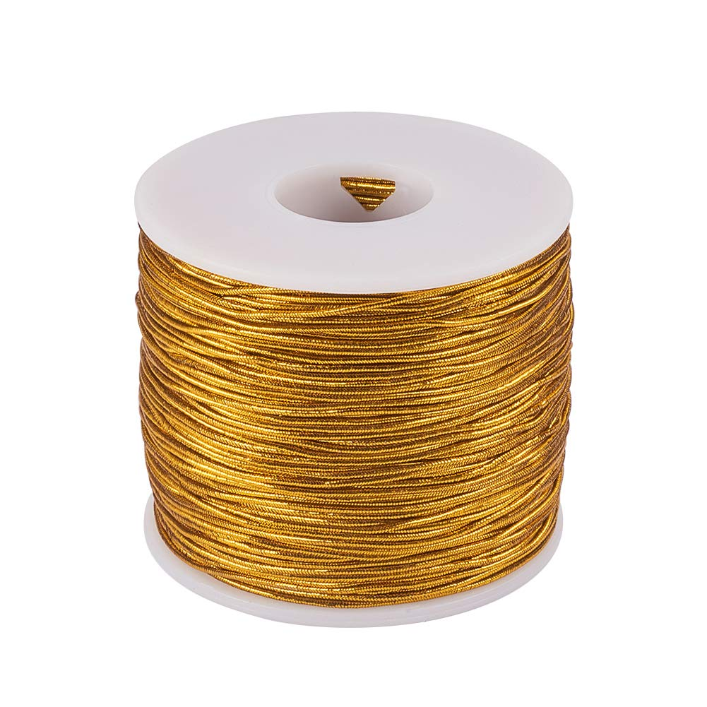 PH PandaHall 1mm 100m/ 109 Yards Metallic Tinsel Elastic Cord Polyester Ribbon Stretch Beading Cord for Jewelry Making Gift Wrap Ribbon, Gold wh-EC-PH0001-11