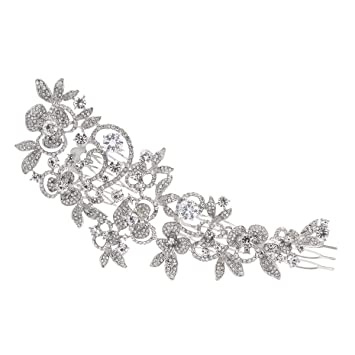 Amazon sparkly long flower hair comb rhinestone hairpins sparkly long flower hair comb rhinestone hairpins bridal wedding hair accessories jewelry austrian crystals hair clips mightylinksfo